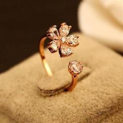 【米蘭精品】玫瑰金戒指鑲鑽銀飾獨特優美梅花73by26