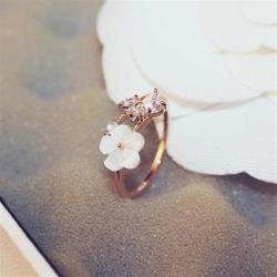 【米蘭精品】玫瑰金戒指鑲鑽銀飾-精緻優美花朵氣質73by30