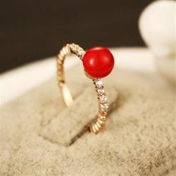 【米蘭精品】玫瑰金戒指鑲鑽銀飾-簡約復古大方流行73by32