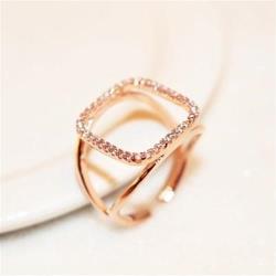 【米蘭精品】玫瑰金戒指鑲鑽銀飾-歐美風格方形設計73by34