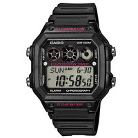 【CASIO】 電力『10』足 方城數位錶-黑框x桃紅錶圈 (AE-1300WH-1A2)