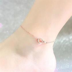 【米蘭精品】玫瑰金腳鍊銀飾精緻雙環時尚2款71ak44