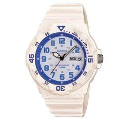 【CASIO】 潛水風DIVER LOOK指針錶-白x藍圈 (MRW-200HC-7B2)